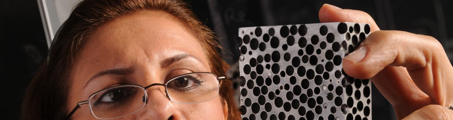Afsaneh Rabiei checks on metallic foam created in her lab.