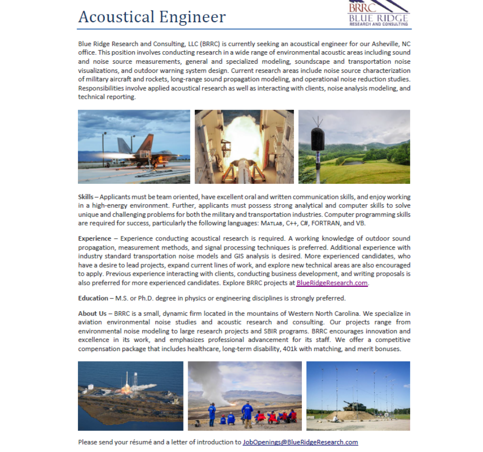 Blue Ridge Research and Consulting in Asheville Seeks Acoustical